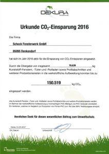 Urkunde Co2 Einsparung 2016