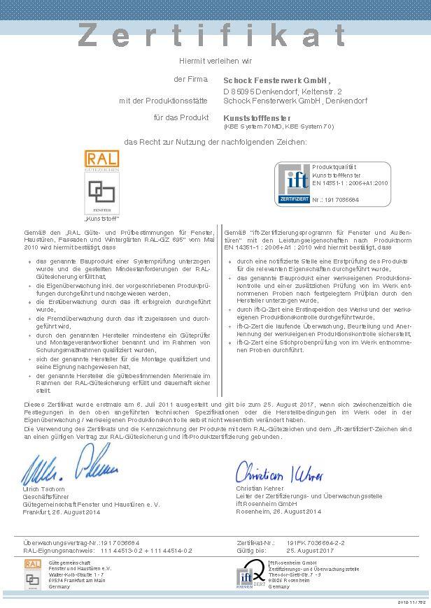 Zertifikate   IFT-Zertifikat   schock-fensterwerk.de