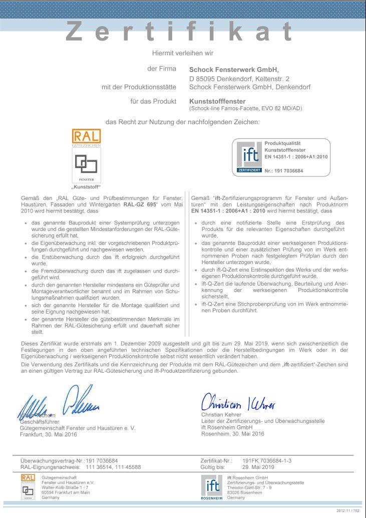 Zertifikate Ift Zertifikat Schock Fensterwerkde